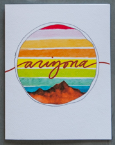 Card by paige poppe. A watercolor landscape with arizona in cursive lettering.