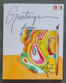 Watercolor card with the state of az in watercolor and the words greetings from az