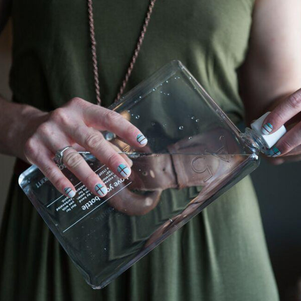 Memo Bottle is a flat reusable water bottle
