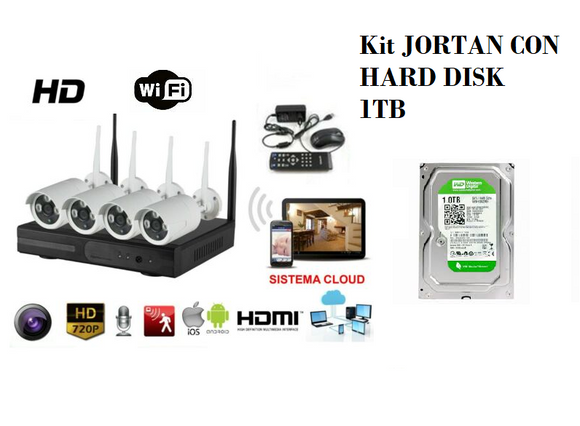 KIT VIDEOSORVEGLIANZA JORTAN HD NVR DVR WIRELESS 4 CANALI TELECAMERE IP66 1,3 MP