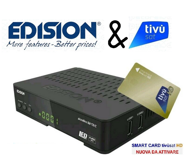 EDISION PICCOLLINO S2+T2C FULL HD HEVC265 + TvSat Card