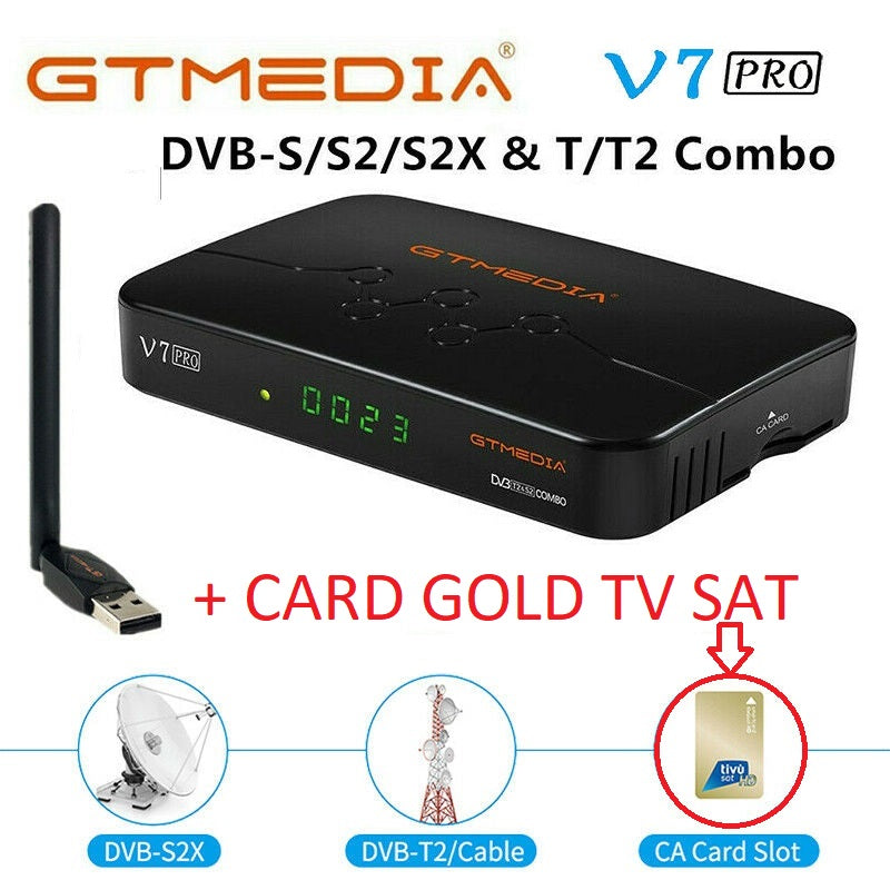 GTMEDIA V7 Pro Decoder HD DVB-S2X/T2 Ricevitore Compatibile TV Sat + CARD GOLD TV SAT TV SAT