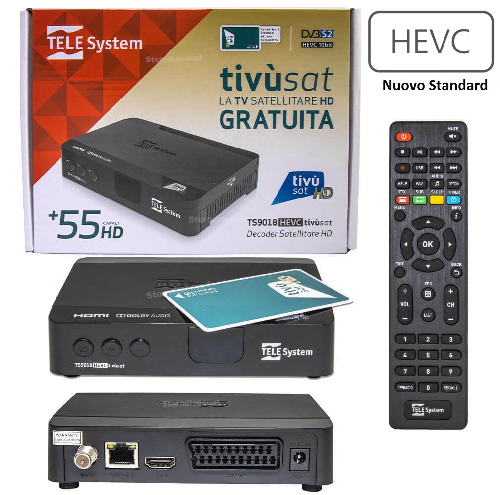 Tvsat Decoder Telesystem Ts 9108Hd + Card Tvsat HD- Hevc265 Main 10 BIT