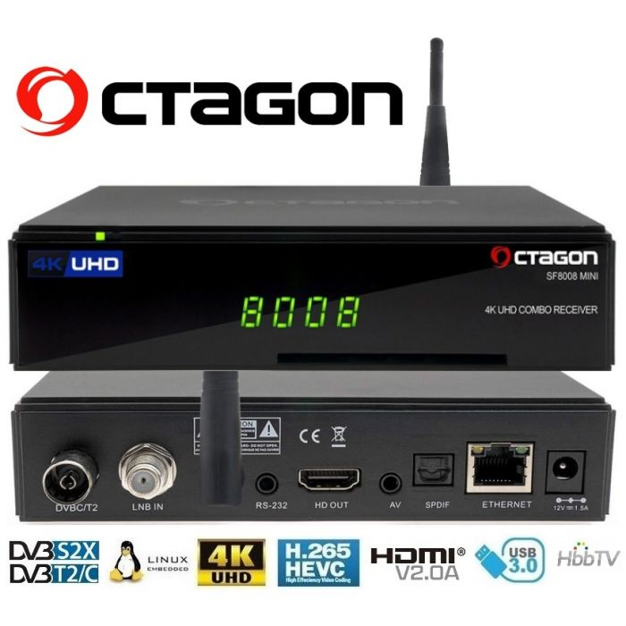 Decoder Octagon SF8008 MINI 4K Combo Linux Enigma2 S2x/T2/C wifi multistream