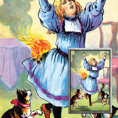 Harriet and the Matches Vintage Illustration Reproduced on a Magnet