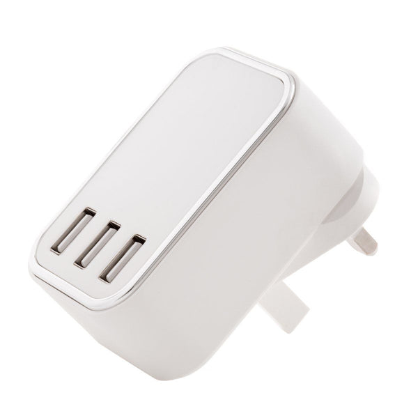 4.5 AMP Fast 3 Port USB Mains Wall Charger Adapter 3 Pin For Mobiles - Visibee