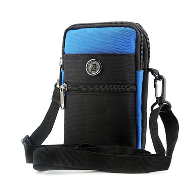Black & Blue Stylish Outdoor Sports 3 Pocket Running Storage Zipper Bag with Shoulder Band - Visibee