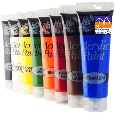 Chiltern Arts 8 Tubes of Assorted Colour Acrylic Paint - 120ml Tubes