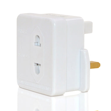 UK 2 Pin To 3 Pin 1A Fuse Adaptor Plug For Shaver / Toothbrush - White