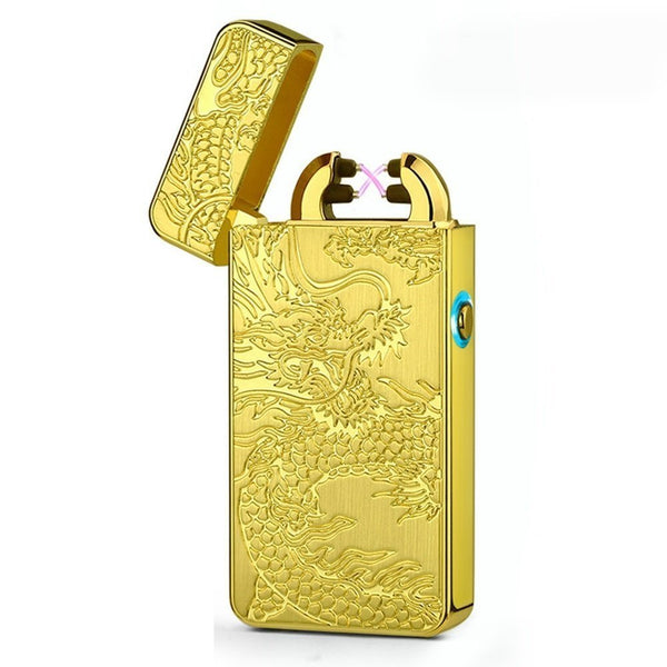 Rechargeable Double ARC Flameless Electric Lighter - Dragon - Visibee
