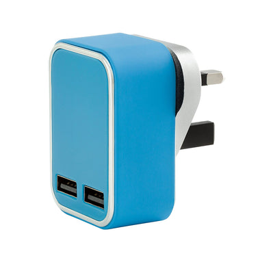 3.1 AMP Fast 2 Port USB Mains Wall Charger Adapter 3 Pin For Mobiles - Visibee