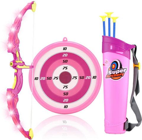 Bow and Arrow Archery Set for Kids with LED Flash Lights and 3 Arrows