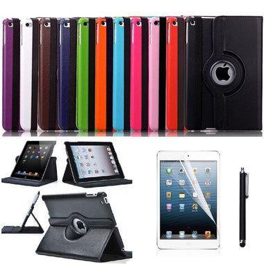 High Quality Apple iPad Mini 1, 2 & 3 Leather 360° Rotation Smart Stand Cover - Visibee