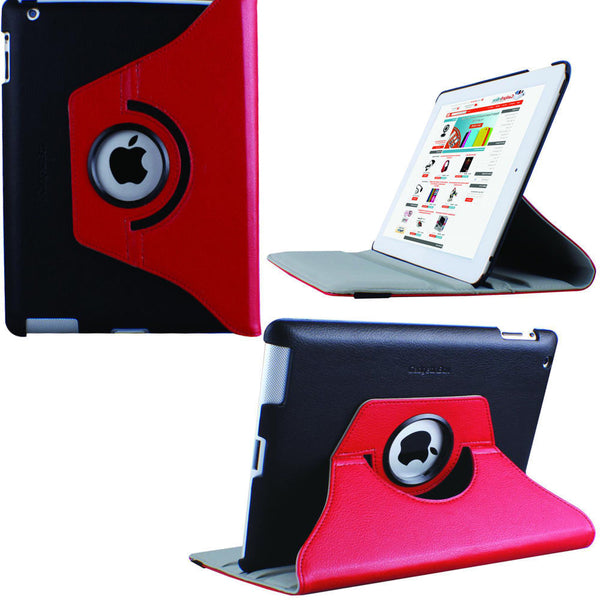 High Quality Apple iPad 2, 3 & 4 Rotation 360° Swivel PU Leather Stand Cover - Visibee