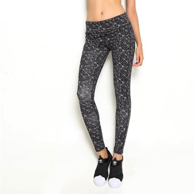 Womens Sporting Workout Leggings in Black Print