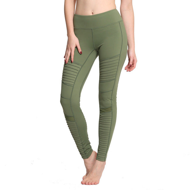 Flora M Women Elastic Waistband Yoga Pants with Mesh Panels