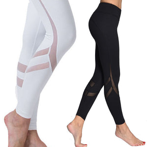 New Women Elastic waistband Yoga pants with Mesh Panels