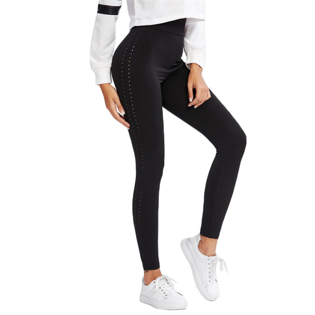 Perforated Side Black Casual Fitness Leggings High Waist