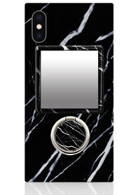 Black Marble Square Phone Mirror
