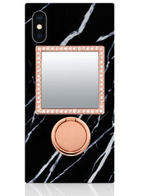 Rose Gold Square w/ Crystals Phone Mirror