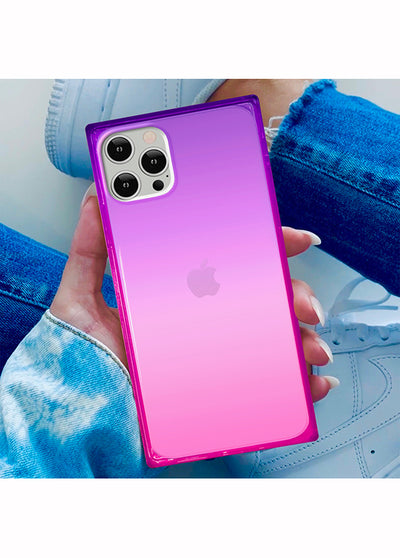 Ombre Pink and Purple Square iPhone Case #iPhone X / iPhone XS