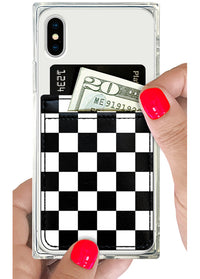Checkered Leather Phone Pocket