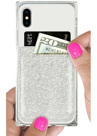 Silver Glitter Phone Pocket