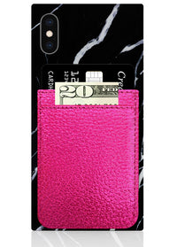 Hot Pink Leather Phone Pocket