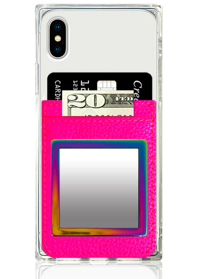 Neon Pink Leather Phone Pocket