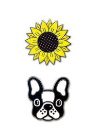 Sunflower & French Bulldog Face Mask Charms