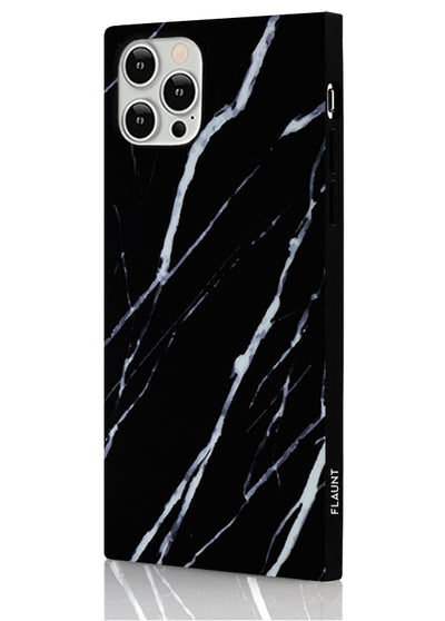 Black Marble Square Phone Case #iPhone 12 / iPhone 12 Pro