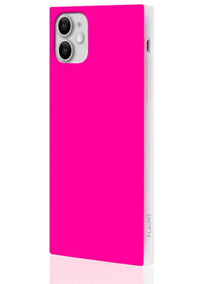 Neon Pink Square Phone Case #iPhone 11
