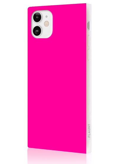 Neon Pink Square Phone Case #iPhone 12 Mini