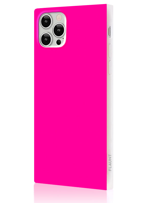Neon Pink Square iPhone Case