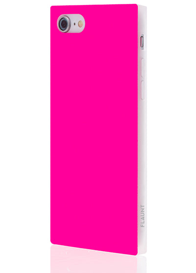 Neon Pink Square Phone Case #iPhone SE/8/7