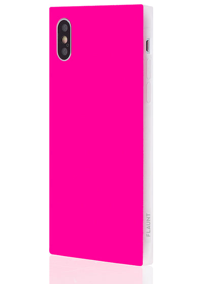 Neon Pink Square Phone Case #iPhone X & Xs