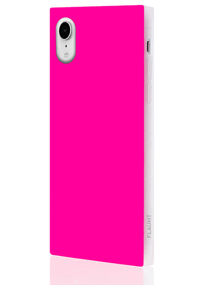 Neon Pink Square Phone Case #iPhone XR