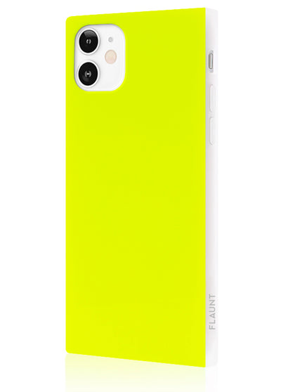 Neon Yellow Square Phone Case #iPhone 12 Mini