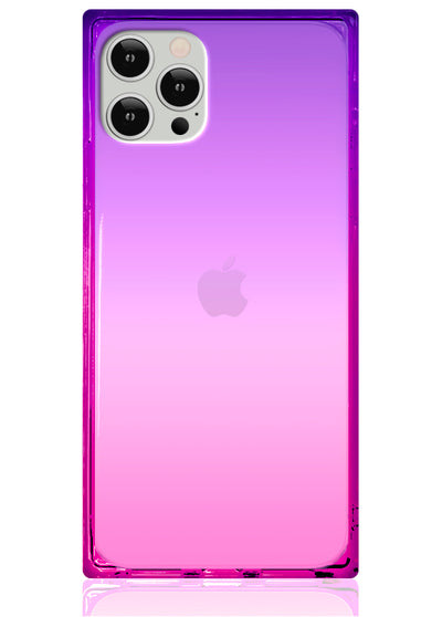 Ombre Pink and Purple Square iPhone Case #iPhone 12 / iPhone 12 Pro