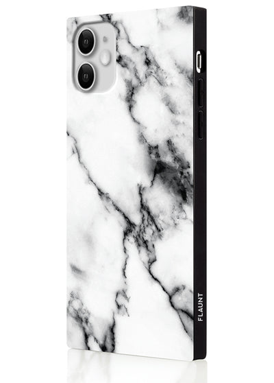 White Marble Square Phone Case #iPhone 11