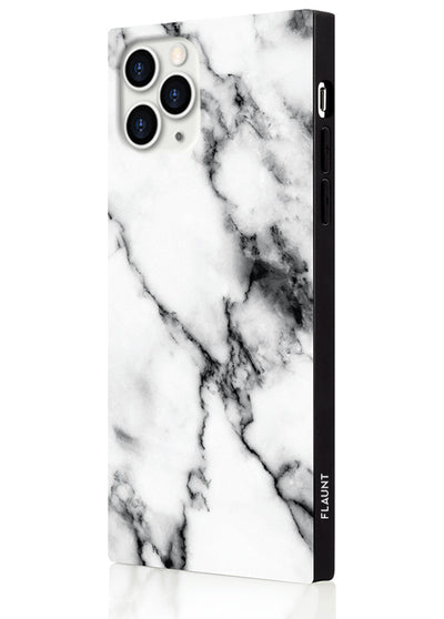 White Marble Square Phone Case #iPhone 11 Pro