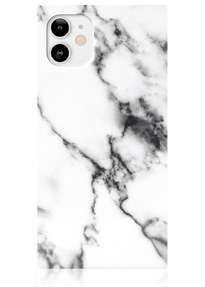 White Marble Square iPhone Case #iPhone 12 Mini