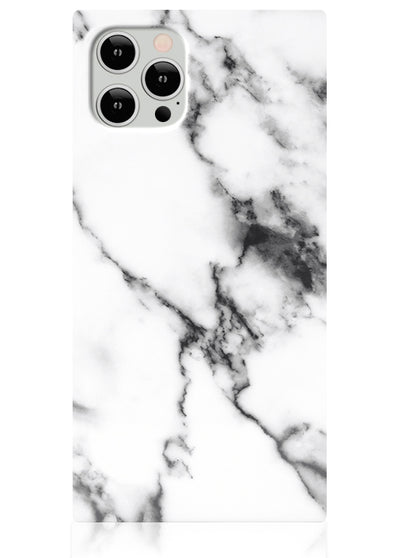 White Marble Square iPhone Case #iPhone 12 / iPhone 12 Pro