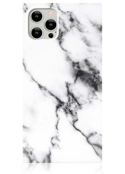 White Marble Square iPhone Case #iPhone 12 Pro Max