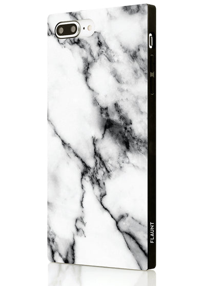 White Marble Square Phone Case #iPhone 7 Plus / iPhone 8 Plus