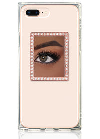 Rose Gold Rectangle w/ Crystals Phone Mirror