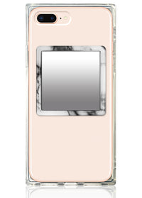 White Marble Square Phone Mirror