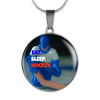 Eat Sleep Hockey Bubble Goalie Necklace