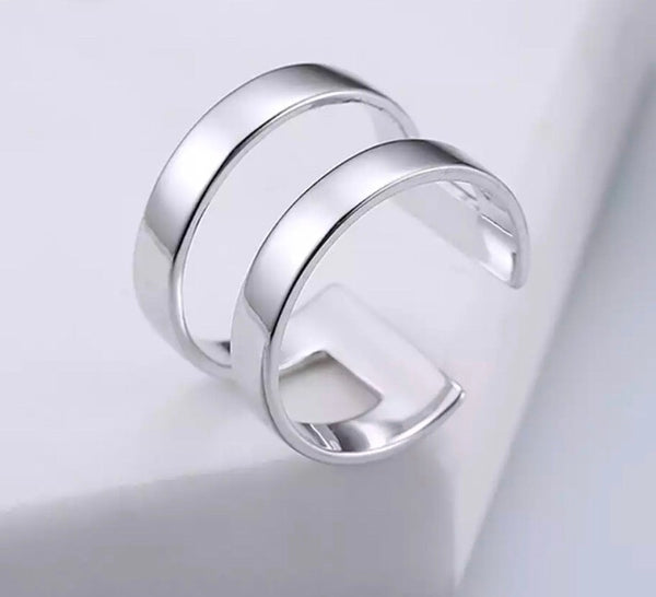Anillo Doble de Plata -Borde Recto-