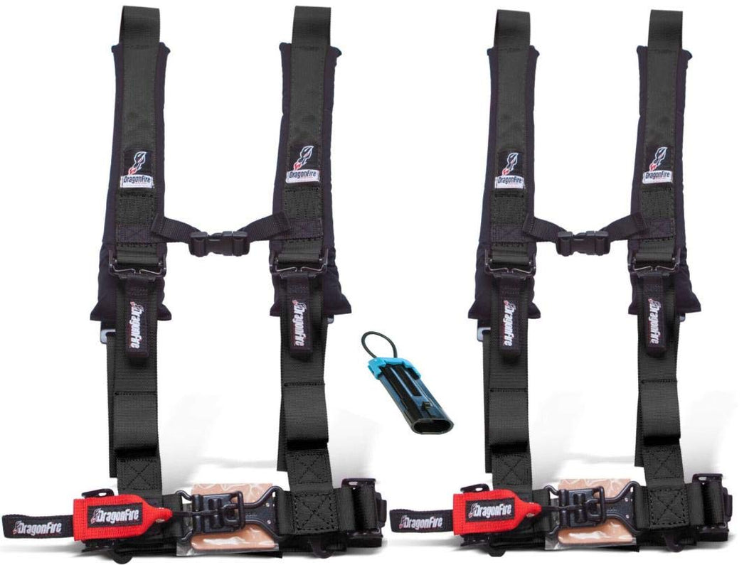 "Dragonfire Racing 4-Point Harness 2"" Set of 2 with override plug - Rad Parts"